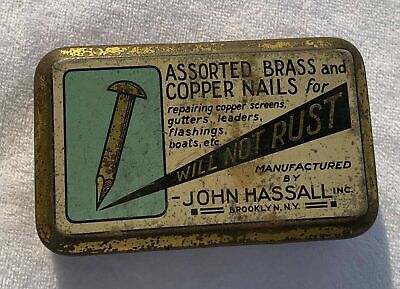 Vintage Antique John Hassall Inc. Assorted Brass and Copper Nails Tin