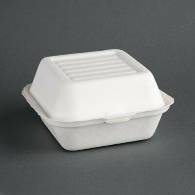 Fiesta Green Compostable Hinged Container Burger Box - 84x153x150mm (Pack 500)