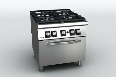 Fagor SS Cook Top with Gas Oven 900 Series 4 Burner Cast Iron NG