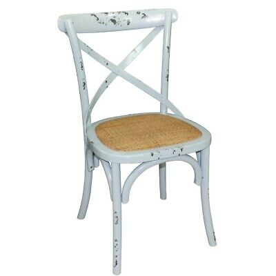 Wooden Dining Chair with Cross Backrest (Box 2) Antique Blue Wash Bolero|