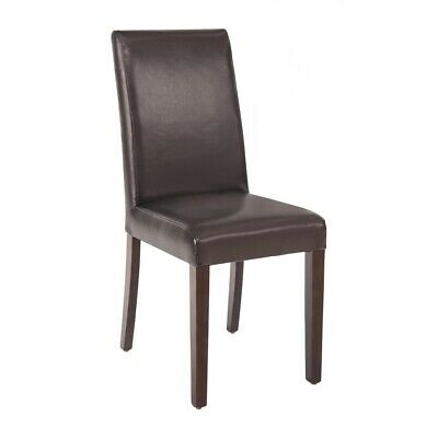 Faux Leather Dining Chair (Dark Brown) (Pack 2) Bolero|
