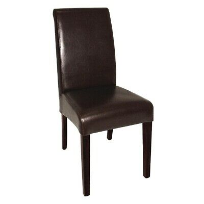 Curved Back Leather Chair (Dark Brown) (Pack 2) Bolero|