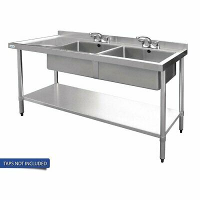 Vogue Double Bowl Sink L/H Drainer - 1800mm (90mm Drain)