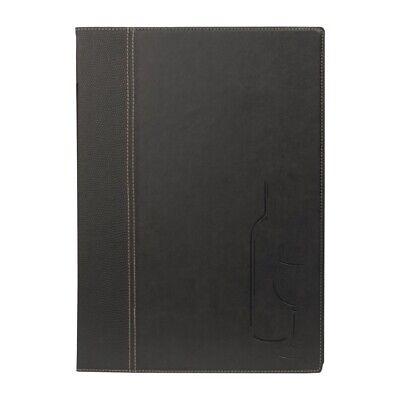 Securit Contemporary Wine Card Black with 2 Inserts A4 - 8 Page