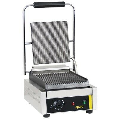 Apuro Bistro Single Contact Grill Ribbed Plates Panini Presses & Sandwich Grills