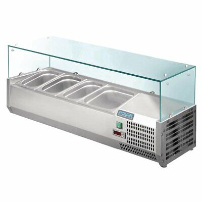 Polar Refrigerated Counter Top Prep/Servery - 1200mm 3 x GN 1/3 & 1x1/2 GN