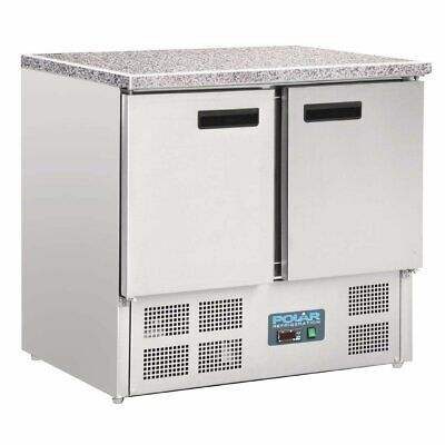 Polar Refrigerated Counter with Marble Work Top - 2 doors 240Ltr