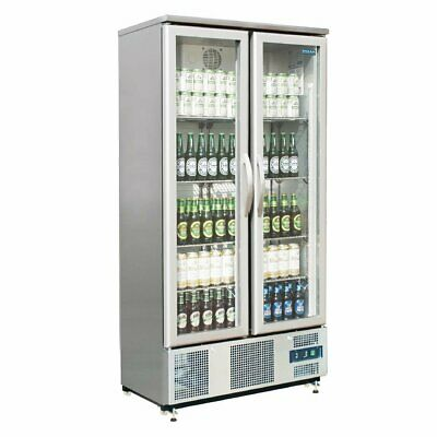 Polar Double Door Upright Back Bar Cooler Hinged S/S