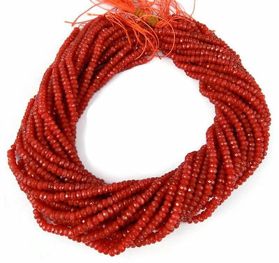 "5 Strand Carnelian Chalcedony Faceted Rondelle Beads 3-4mm Gemstone 13.5"" Long"