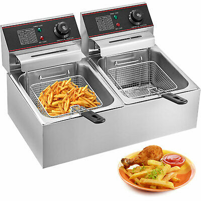 5000W 12L Electric Deep Fryer Fat Fry Chip Commercial Countertop Stainless Steel