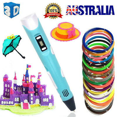 3D Stereoscopic Doodler Printing Drawing Pen LCD Art Tool +10 Filaments AU STOCK
