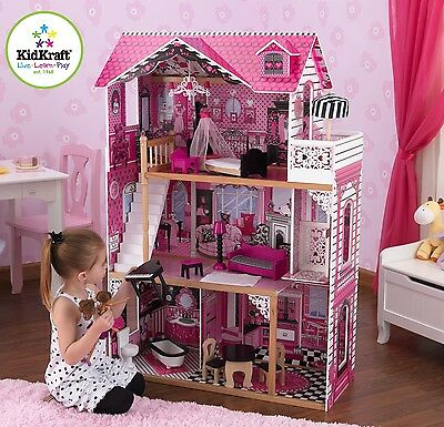 Kidkraft Amelia Dollhouse, Wooden House with Lift fits Barbie sized Dolls