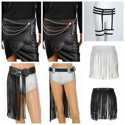Women Club Skirt Garter Belt Costume Tassel Mini Dress Metal Chain Dance Wear