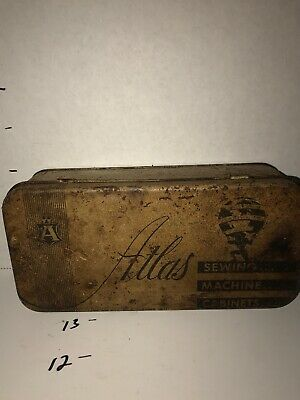 Vintage Atlas Sewing Machine Accessories Tin For Display D29