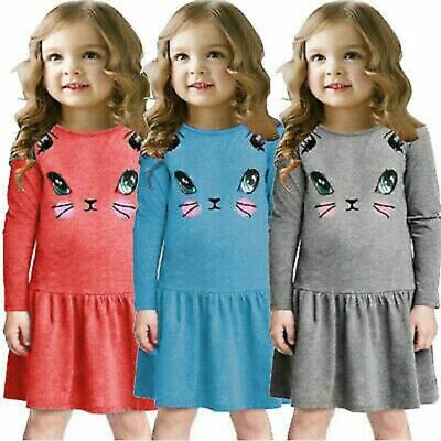 Baby Girls Long Sleeve Cat Printed Shirt Dress Winter Casual Tunic Tops Clothes