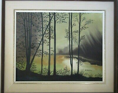 Old Vintage Oil Painting on Board Sunset Forest Scene Signed M.Martin