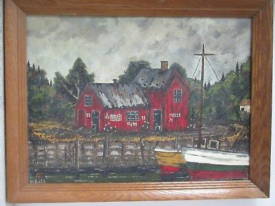 Old Vintage 1979 Oil on Board Painting Red Fish House with Boats Gerald B Smith