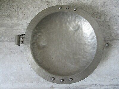 Old Vintage Hand Made Hammered Norway Aluminum Arts & Crafts Footed Bowl