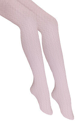 Girls Patterned Tights Solid Opaque White 7-11 Years Sylvia Knittex