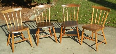 Four (4) Matching Pennsylvania-Style Plank Bottom Chairs