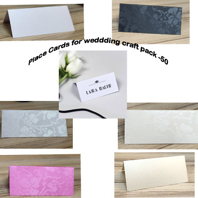 Pack of 50 Silver Colour Wedding Place Cards XPPC08
