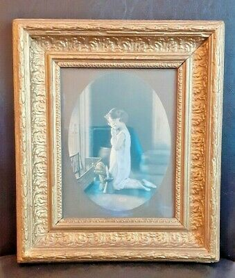 Vintage Wooden Ornate Gilt Picture Frame With Print Of Young Girl By Fireplace
