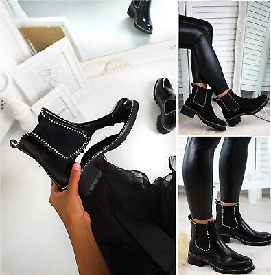Ladies Womens Low Block Chunky Heel Sole Chelsea Studded Ankle Shoes Boots Size