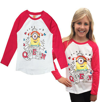 Official Despicable Me Girls Minions Prom Queen T Shirt Kids Raglan Sleeve Top