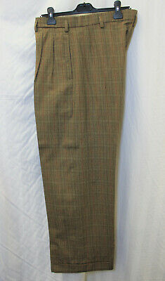 Men's 1940's Brown check Oxford Bag Trousers WWII reenactment 40's WW2 40s