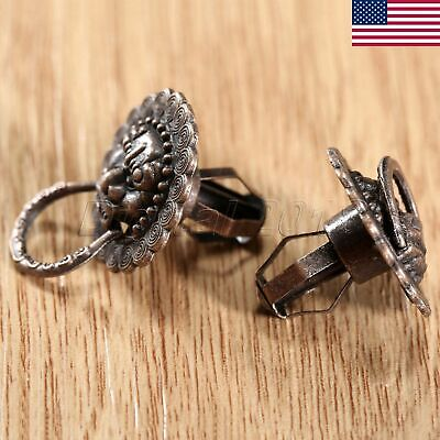 2pcs Lion Head Pull Handle Knobs Ring For Furniture Jewelry Box Cabinet US STOCK