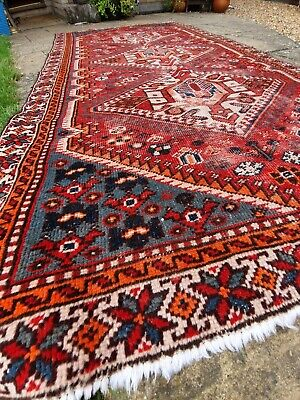 Antique Rare Qashqai Rug Carpet Worn, high quality.