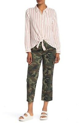 $135 Sanctuary Women'S Green Camouflage Printed Cropped Casual Pants Size 26