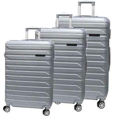 ABS trolley set 3 pcs luggage travel bags 8 wheels 8081-3 silver