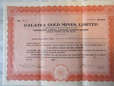 Old 1936 Galatea Gold Mines 200 Shares Stock Certificate