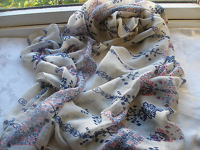 White Cream Navy Blue Red Abstract Paisley Lightweight Ladies Scarf Pashmina