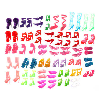 80pcs Mixed Different High Heel Shoes Boots for Doll Dresses Clothes、-PN