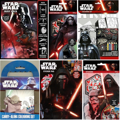 Star Wars - Reusable Stickers Colour In Sheets Crayons Pencils Bookmarks & More