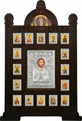 """40"""" Traditional Byzantine Wood Carved Silver 925 Shrine Custom Made Icons"""
