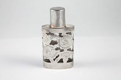 Vintage Sterling Silver Overlay Perfume Bottle Flask Lhm Mexico