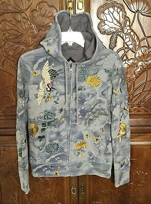 Lucky Brand Embroidery Sweatshirt Hoodie Jacket Retail $168 SZ M