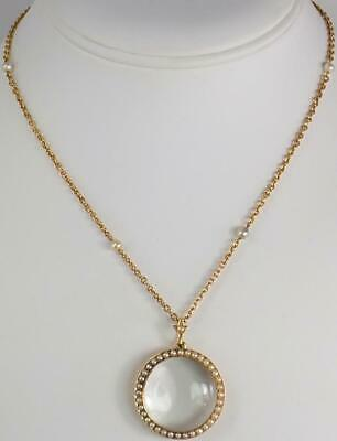 Fine Antique Victorian 18K Gold Seed Pearl Rock Crystal Locket Pendant Necklace
