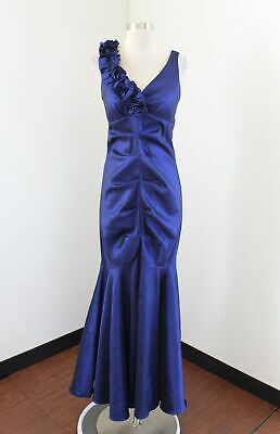 RM Richards Blue Iridescent Ruffle Rosette Mermaid Formal Evening Dress Size 8