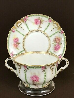 Antique GDA Limoges Yellow Pink Rose Bouillon Cup & Saucer Green Leaf Gold Trim