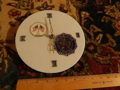 """United States ~American Legion~ """"For God & Country"""" (White Circular) WALL CLOCK"""