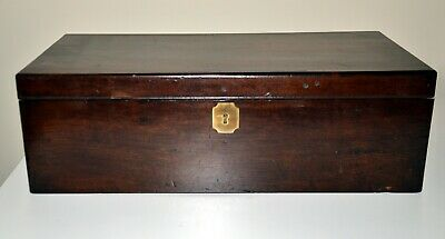 Antique Victorian Mahogany Writing Slope With Campaign Handles and Drawer
