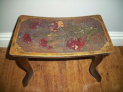 Antique 19th Century Oak Poker Work Cabriole Leg Stool (Hand-Painted Flowers)