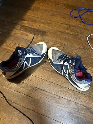 New Balance Mens Size 12 Low Metal Baseball Cleats Navy Blue White Fast Shipping