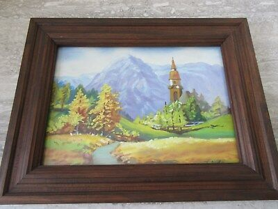 Vintage Oil on Board Painting Church in Mountains Fall Colors Signed T.Burke