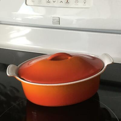 Vintage Made in Belgium Cast Iron Red / Orange Descoware Oval Dutch Oven