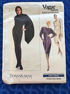 1988 Vogue Knit Sewing Pattern 2215 Donna Karan  Misses Drape Neck Dress 12